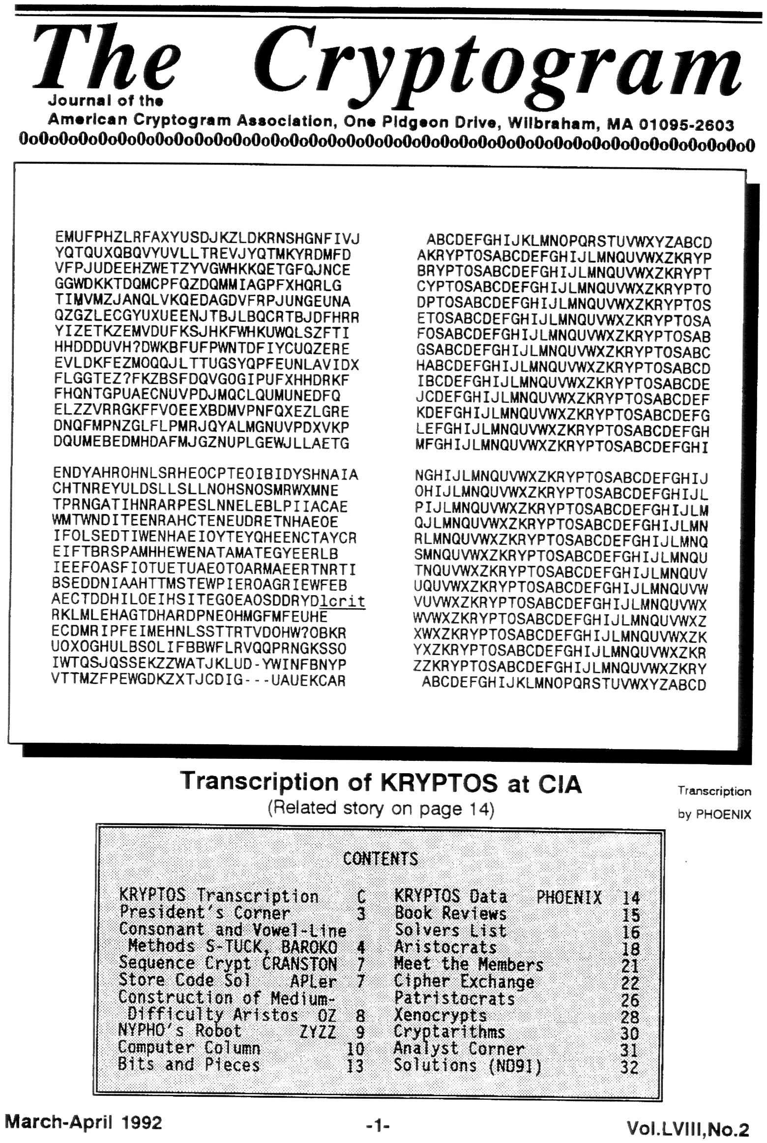 Kryptos Images - American Cryptogram Association
